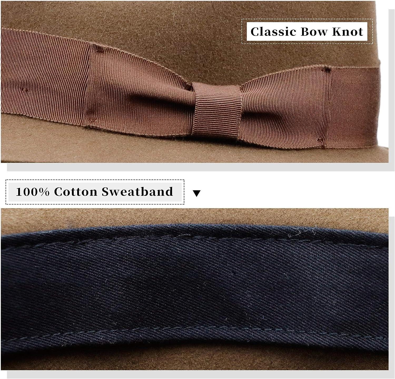 ZERTRUE Fedora Hat for Men & Women Vintage Wide Brim Wool Felt Hat Trendy Panama Hat