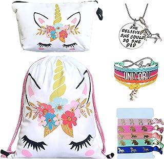 Unicorn Gifts for Girls - Unicorn Drawstring Backpack/Makeup Bag/Bracelet/Inspirational Necklace/Hair Ties (White Flower)