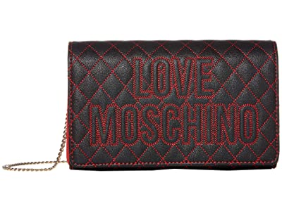 LOVE Moschino Top Stitch Logo Quilted Bag (Black PU/Red PU) Handbags