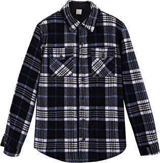 Men's Warm Sherpa Lined Fleece Plaid Flannel Shirt Jacket(All Sherpa Fleece Lined)