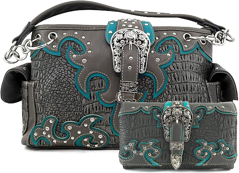 Justin West Concealed Carry Western Croc Buckle Duo Color Shoulder Handbag Purse