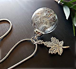 Ciondolo foglia d'acero Catena ARGENTO STERLING collana di tarassaco e confezione regalo - Ciondolo antico collana di Dent...