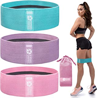 Exercise Resistance Bands for Legs and Butt - 3 Pack, Workout Fabric Non-Slip Gym Equipment Set for Women/Men, Squat Booty...
