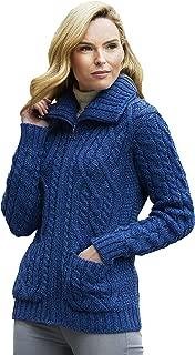 Aran Crafts Double Collar Zipper Cardigan (100% Merino Wool)