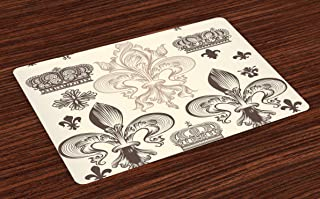 Lunarable Fleur De Lis Place Mats Set of 4, Heraldic Pattern with Fleur-de-Lis and Crowns Tiara Coat of Arms Knight, Washable Fabric Placemats for Dining Room Kitchen Table Decor, Beige Taupe