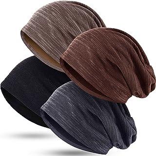 4 Pieces Slouchy Beanie Hat Baggy Skull Sleep Cap Stretch Knit Sleeping Hat Headwear Head Wrap Cap for Men Women