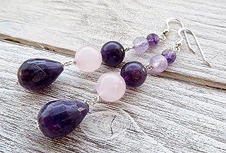 Orecchini con ametista viola, lavanda e quarzo rosa, pendenti lunghi in argento 925, gioielli con pietre naturali, bijoux ...