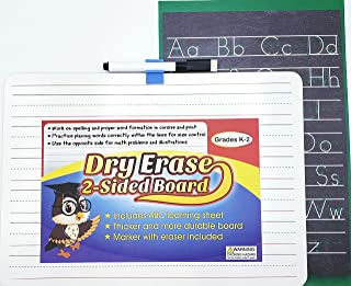 Dry Erase Board Double Sided White Board for Student Children and Kids Learning 9x12 Dry Erase Board Includes Alphabet Poster for referencing   Dry Erase Marker Included