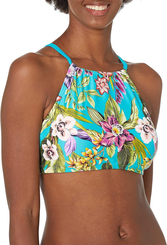 Amazon Brand - Coastal Blue Women's Bra-Sized Highneck Underwire Bikini Top