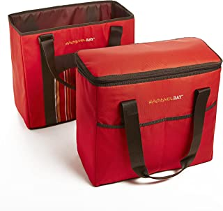 Rachael Ray ChillOut 2 Go Totes, Matching Set of 2 Insulated Tote Bags for Shopping/Entertaining, Red Stripe