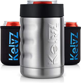 KelvZ Finger Grip Insulated Can Cooler + 2 Can Coolies | 18/8 Stainless Steel Beer Holder..
