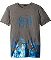 Versace Kids - Short Sleeve Medusa Logo T-Shirt w/ Flames (Big Kids)