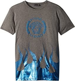 Versace Kids Short Sleeve Medusa Logo T-Shirt w/ Flames (Big Kids)