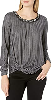 AGB Women's Slinky Rib Pullover Top