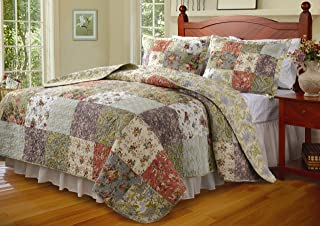 Greenland Home Blooming Prairie 100% Cotton Authentic Patchwork Quilt Set, 3-Piece Full/Queen
