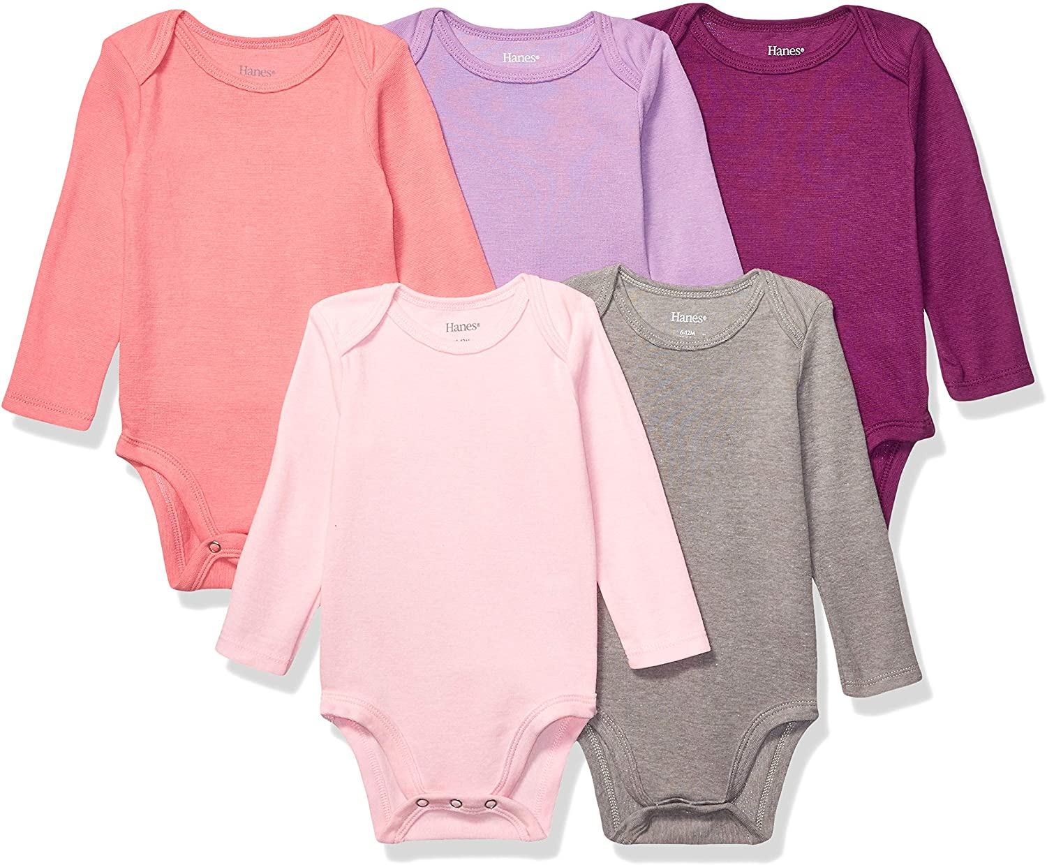 Hanes 5 ☆ very popular Ultimate Baby Flexy 5 Pack Bodysuits Long Sleeve 100% quality warranty