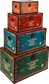 ts-ideen juego set de 4 Containers estantería cómoda caja cofre de diseño estilo retro shabby industrial TOUR EIFFEL, color naranja, rojo, verde y azúl