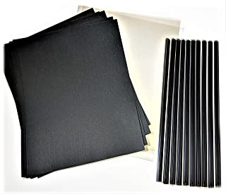 Newly Patented Premium SlideBinder tm Binder Bars with CLEAR FRONTand BLACK LINEN card stock back covers. Staple, slide, and never lose a page! SMALL SIZE for 1-12 sheets of 20lb paper (10 COVER SETS)