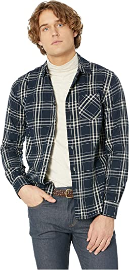 Regular Fit Ams Blauw Brushed Cotton Checked Shirt
