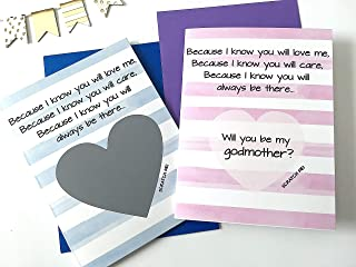 Will You Be My Godmother and Godfather Scratch Off Set of 2 Stripes