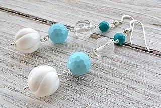 Orecchini in argento 925, pendenti con conchiglie bianche, turchesi e cristallo di rocca, gioielli contemporanei, bijoux c...