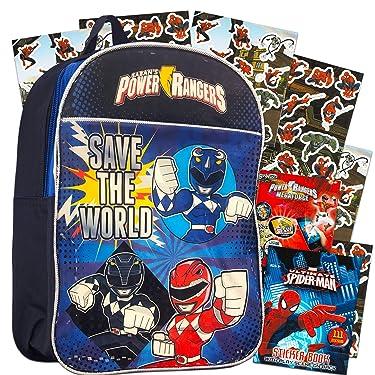 Power Rangers Backpack Preschool Boys Set with Superhero Stickers