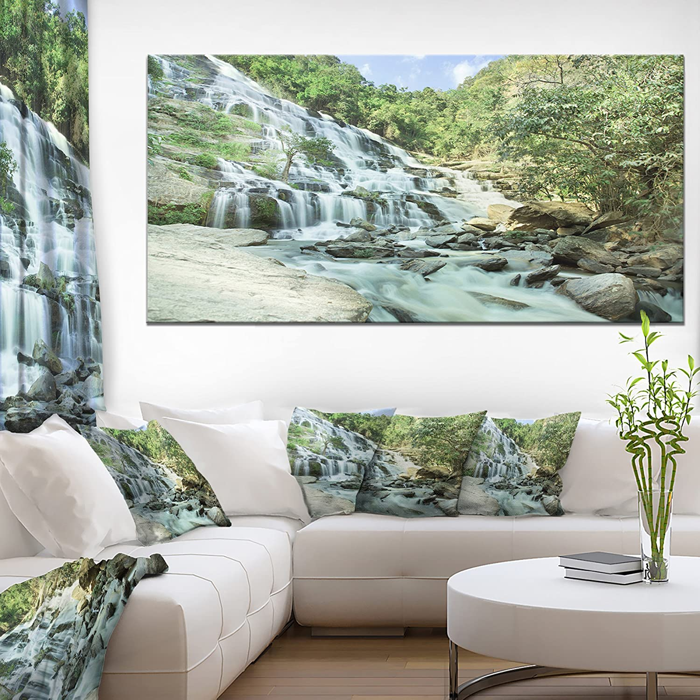 Amazon Com Designart Maeyar Waterfall In Rain Landscape Photo Canvas Print 48x28 4 Panels 28 H X 48 W X 1 D 4p Home Kitchen