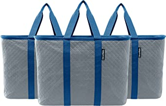 CleverMade SnapBasket Thermo XL 40 Liter Reusable Tote Bag with Reinforced Bottom: Collapsible Grocery Shopping Basket, Ch...