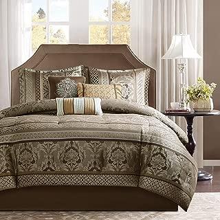 7 Piece Brown Gold Jacquard Comforter Cal King Set, Coffee Striped Bedding Moroccan Pattern Medallion Leaf Ironwork Motif Floral Stripes Glam Gorgeous Elegant, Microfiber
