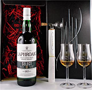 Geschenk Laphroaig Select Single Malt Whisky  Glaskugelportionierer  2 Bugatti Gläser