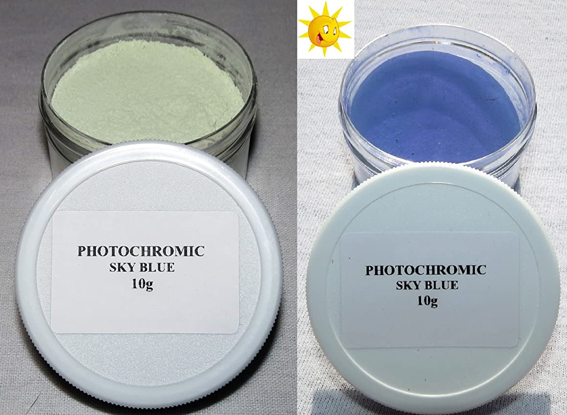 PhotoChromic Pigment That Changes Colors When Exposed to Sunlight or UV Light, and reverts to its Original Color When Sunlight is Blocked. (5g, Sky Blue)