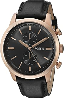 Fossil Townsman Men's Black Dial Chronograph Leather Band Watch - FS5097