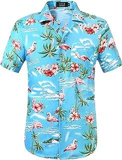 Men's Flamingo Relaxed Fit Casual Short Sleeve Hawaiian Shirt