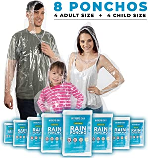 Disposable Rain Poncho Family 8 Pack: Clear Emergency Raincoat Ponchos w/ Hood for Adults & Kids - Heavy Duty One Size Fits All Waterproof Travel Plastic Rain Jacket for Adult Men & Women or Children