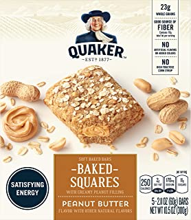 Quaker Baked Squares, Soft Baked Bars, Peanut Butter, 5 Bars (Pack of 8)