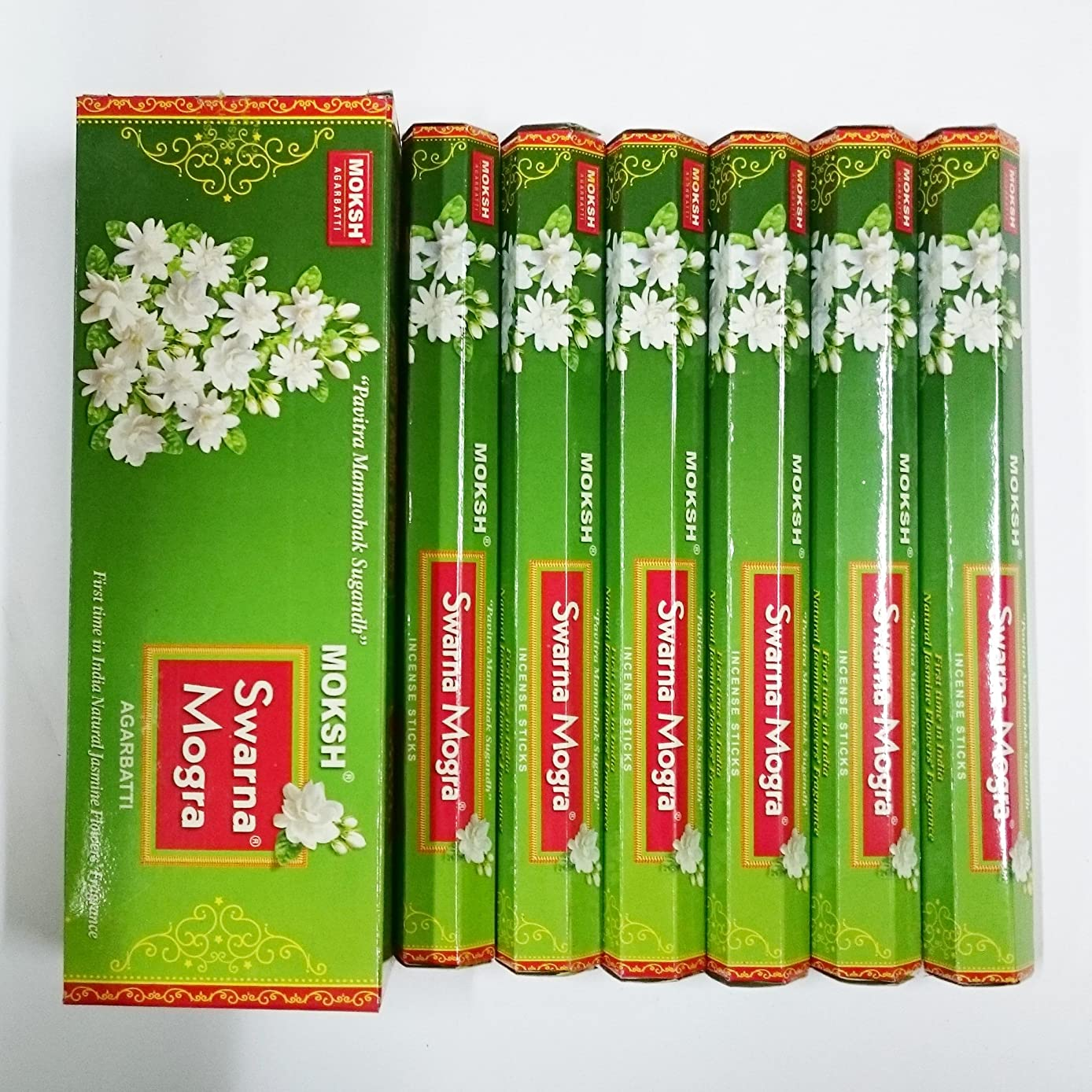 自然公園代数的ハンマーMoksh (モクシャ) インセンス スティック へキサパック スワルナ モグラ(インドジャスミン)香 6角(20本入)×6箱 [並行輸入品]Swarna Mogra