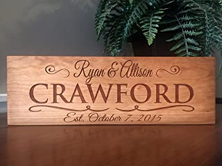 Qualtry Personalized Engraved Wedding Gifts Wooden Family Name Signs (5x15 Crawford Design, Cherry Wood Type (Light red))