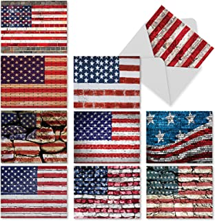 10 Assorted Thank You Note Cards 4 x 5.12 inch Featuring American Flag - 'Flag Day' Patriotic Thank You Cards with White Envelopes - Star and Stripes Motif Depicted on Brick Walls M3013