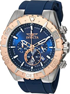 Invicta Men's Aviator 49mm Stainless Steel and Silicone Chronograph Quartz Watch, Steel/Blue (Model: 22523)