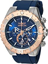 Invicta Men's Aviator Stainless Steel Quartz Watch with Silicone Strap, Blue, 26 (Model: 22523)