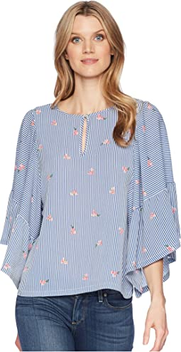 B Collection by Bobeau Kelsey Flutter Sleeve Blouse