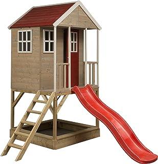 Maison de jeux en bois pour enfants | enfant jardin salle de spectacle avec bac à sable et toboggan