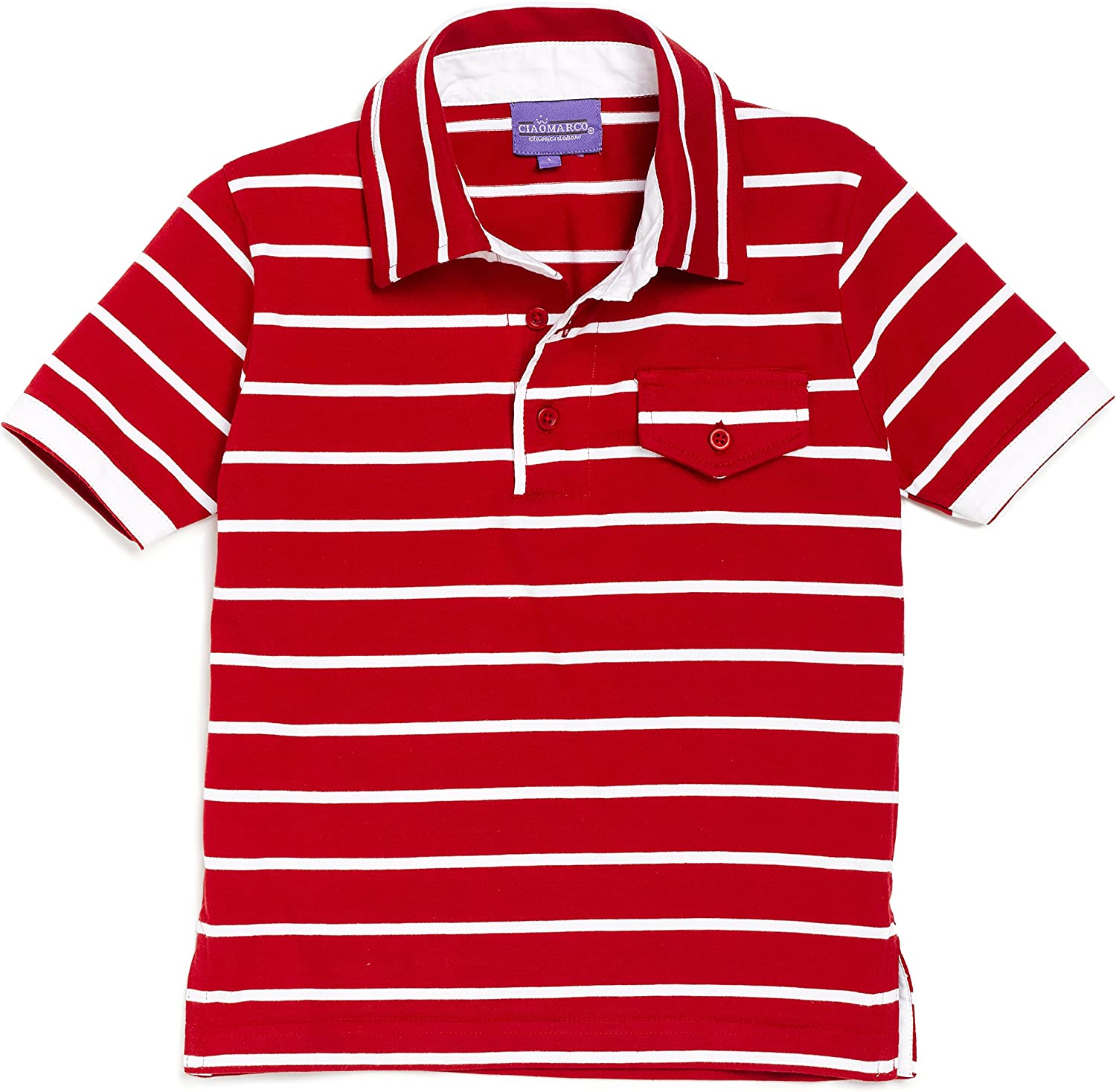 Ciao Marco Red and White Striped Polo