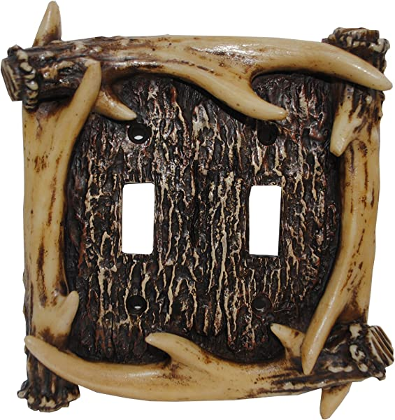 HiEnd Accents Rustic Antler Double Switch Plate