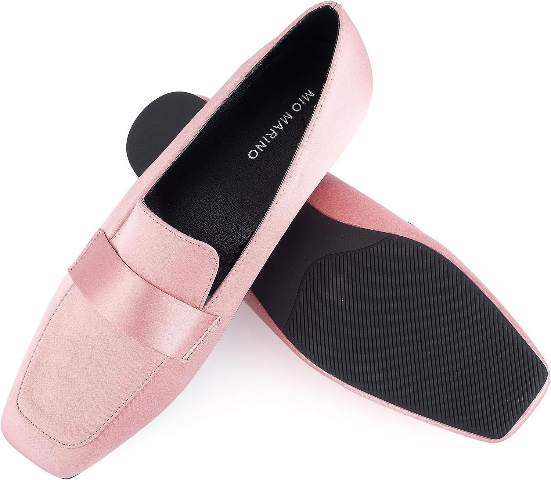 Mio Marino Comfortable Flat Dress Shoes for Women - Square Toe Satin Flats