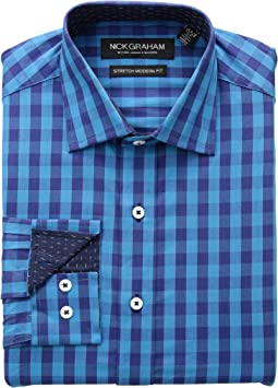 Gingham Print CVC Stretch Dress Shirt