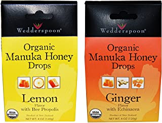Wedderspoon Organic Manuka Honey Drops (Ginger and Lemon Pack of 2)