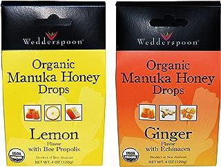 Wedderspoon Organic Manuka Honey Drops (Ginger and Lemon Pack of 2)