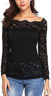 Lace Tops for Women Off Shoulder Floral Long Sleeve Elegant Twin Set Top Blouse