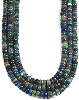 Natural Black Opal Roundelle Shape Beaded Necklace 31Cts,Black Opal Gemstone,Fire Opal Beads,Opal Beads Strand,Black Opal Stone 18 INCHES